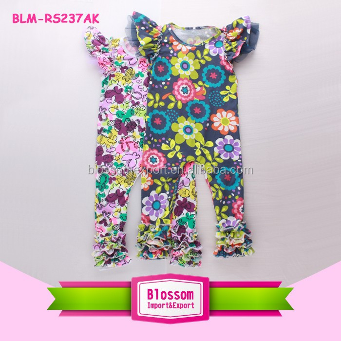 Boutique Floral Print Lovely Toddler Baby Flutter Sleeve Ruffle Icing Rompers For Baby Girls