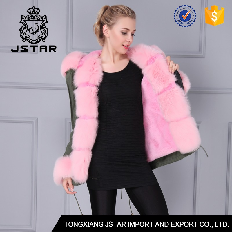 Genuine Italian Design Real Fox Fur Coat For Young Sex Girls Parkas