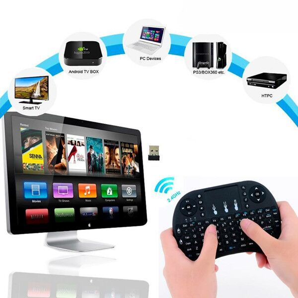 1Chip hot selling i8 pro 2.4g wireless rii mini backlit keyboard wireless keyboard for android tv box