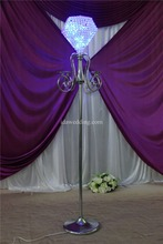 IDA Tall crystal chandelier flower stand for weddings lED lighting walkway decor stage