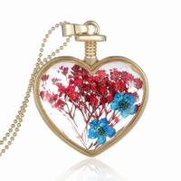 2016 new summer beautiful gold chian real flower jewelry heart pendant crystal women's herbarium necklace