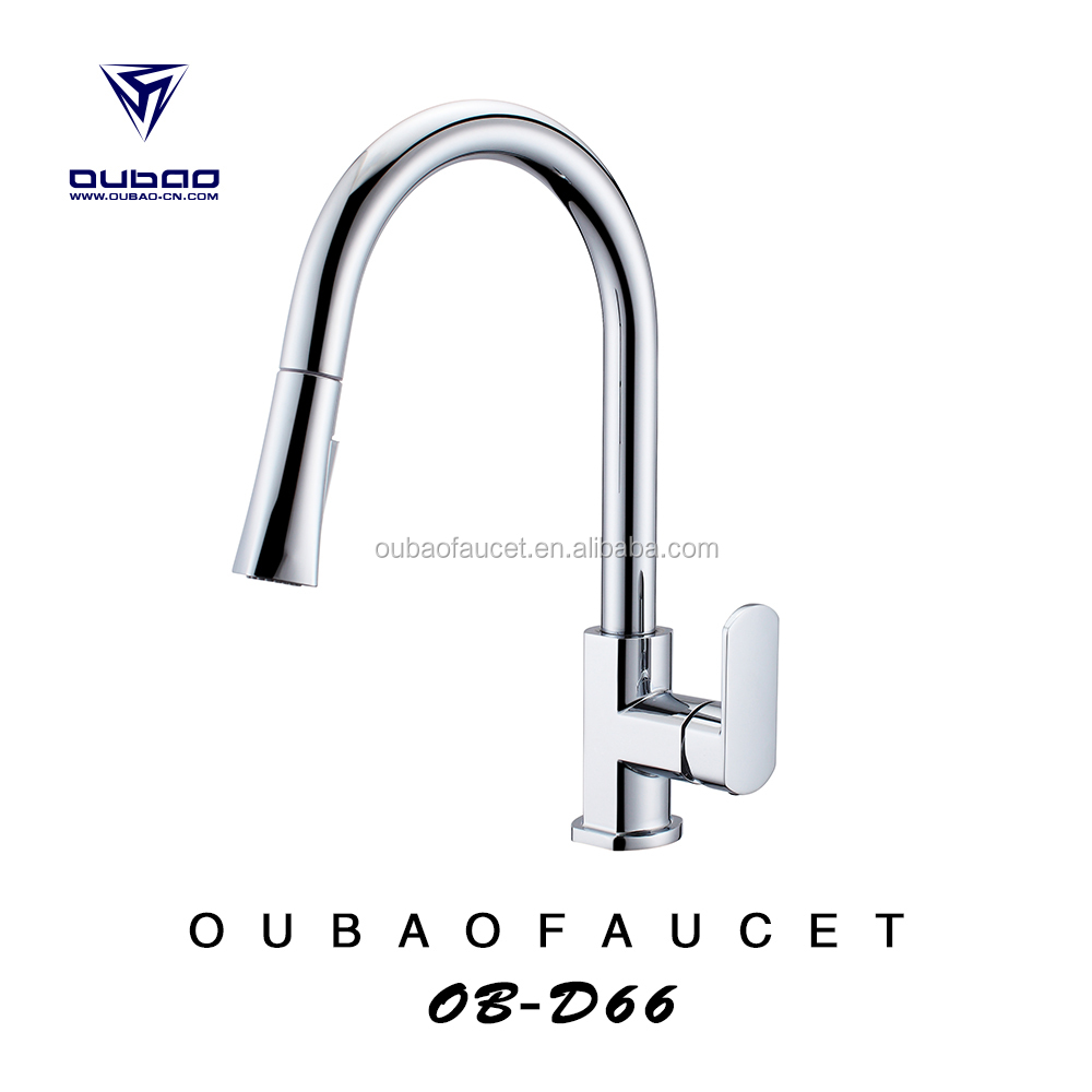 New arrival single handle polished chrome pull out spray hot cold water mixer tap kitchen sink faucet OB-D66