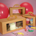 Cardboard paper cake packing box with handle and clear window