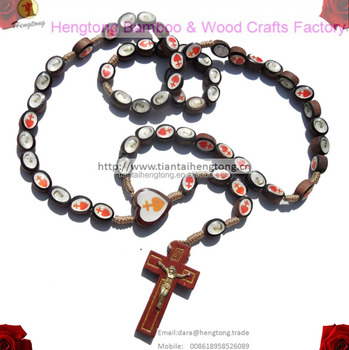 hand knited religious Oval bead catholic rosary necklace with icons double side epoxy