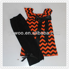 2015girls cheap wholesale orange and black chevron tee with bow clothing wholesale child wear baby chevron outfit
