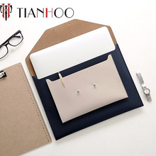 PU Material Envelope Cover Style A4 Document 13 inch Computer Protective Sleeve Laptop Clutch Bag with Buckle