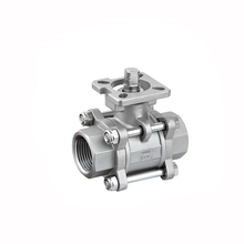 Casting 1000psi stainless steel npt bspt bsp female threaded 3pc ball valve with mountion pad