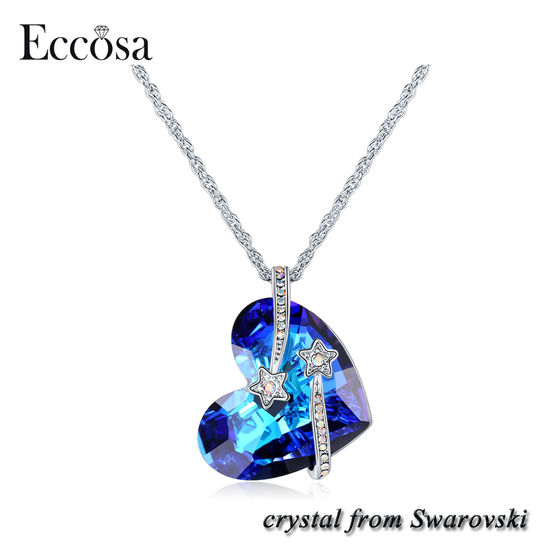 Eccosa Stars Titanic Heart of Ocean Pendant Heart Necklaces Made with Crystals from Swarovski