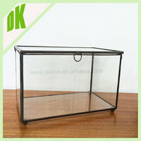 Pet home display case / geometric container / With a door open Clear glass stainless steel display Terrarium Pet Reptile Cage