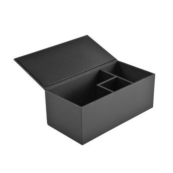 Grid leather cover cardboard core faux leather rectangle multiple compartments storage box