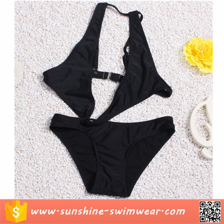 Hot Girl Solid Black Cut Out Monokini Swimwear