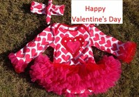 2014 baby valentines rompers heart rompers baby girls rompers with tutu dress long sleeve with matched headband set