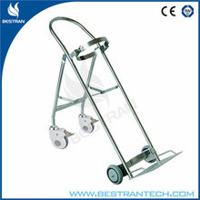 China BT-SDT008 Stainless Steel Oxygen Cylinder Bottle Cart/ Gas Cylinder Trolley With Lockable Wheels