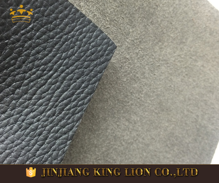 Litchi embossed microfiber leather material for work shoes