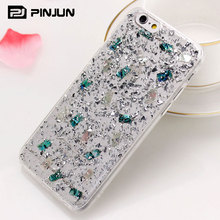Luxury clear transparent TPU glitter foil flake crystal phone case for iphone 7 6 6s plus sparkling silicone case