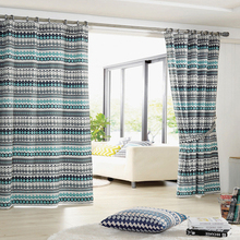 Beauty French pinch pleated polyester printed blackout curtain