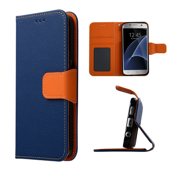 C&T Genuine Leather Foilo Wallet Cover Case for Samsung Galaxy S7
