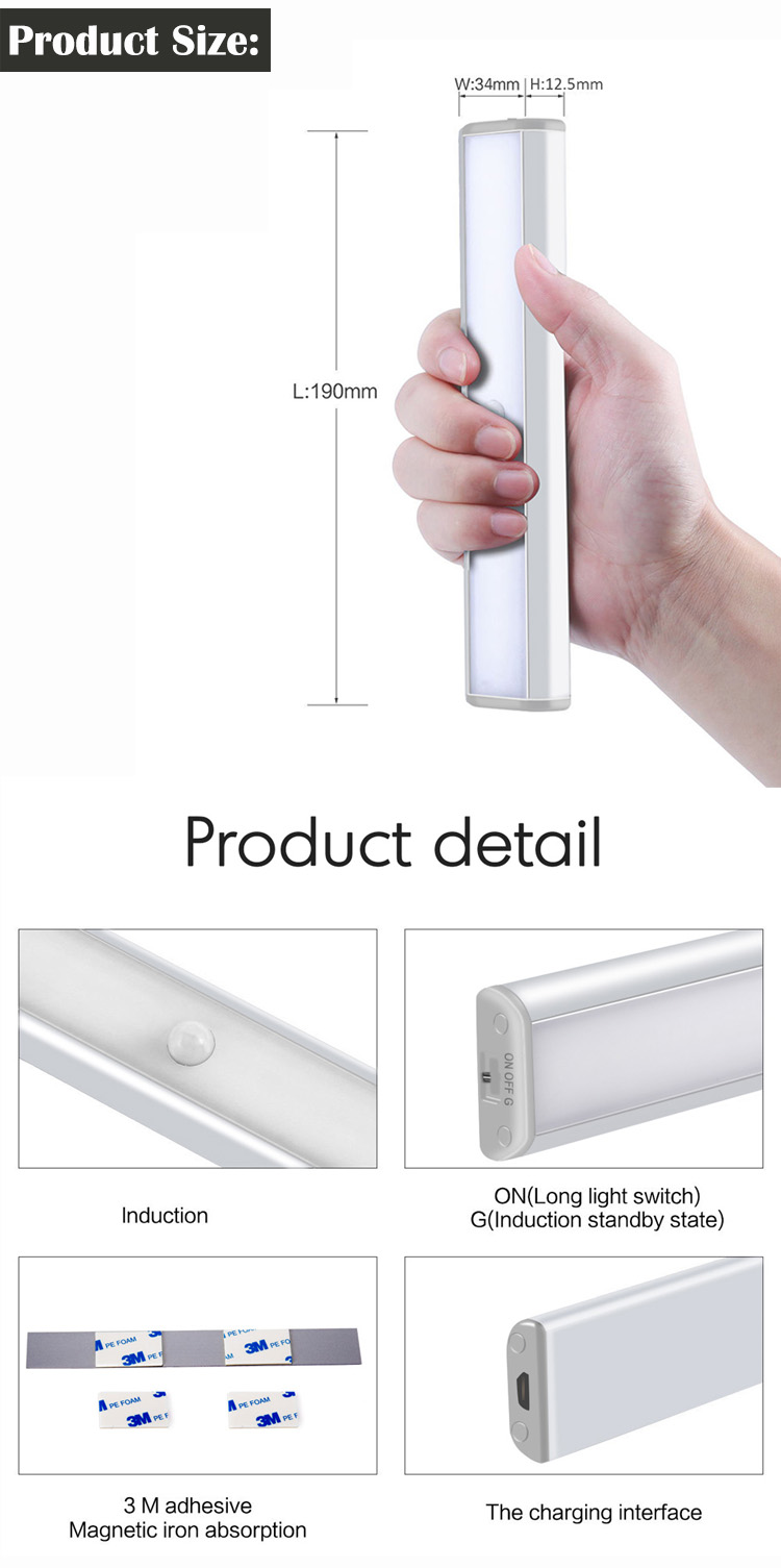 LED Motion Sensor Night Light for Closet LED Cabinet Night Lighting Wireless Motion Activated under kitchen lights