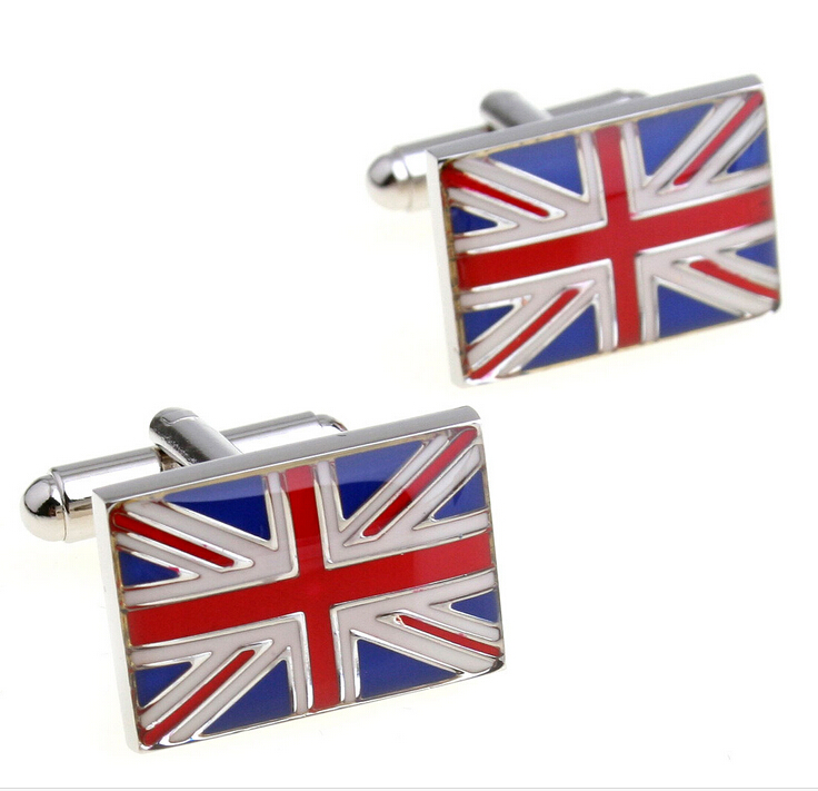 China factoey wholesale fashion metal silver enamel custom uk flag cuff link