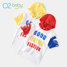 Q2-baby March Expo Promotion Kids Short Sleeve Hoodie Pullover Latest Design Girls Tops