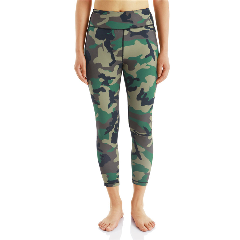 China Factory High Elastic Gym Stretched Compression Yoga Pants Ladies Outdoor Camouflage Sports Fitness Leggings
