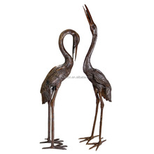 Upright and Preening Sculpture Crane Set