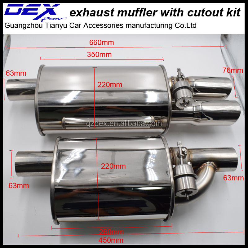 universal high performance car modified muffler with valve