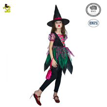 A wholesale Halloween Carnival party Festive Witch Child costume with hat