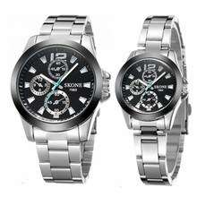 SKONE 7063 cheap stainless steel chain wrist couple watch with decoration chronograph