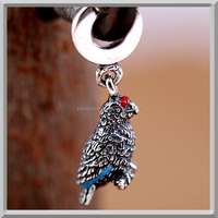 Unique Bird Parrot Bead Animal Charm Fits Replica European bracelets jewellery
