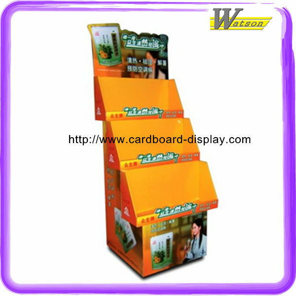 hot sale honey 4 tier strong structure printing cardboard display shelf