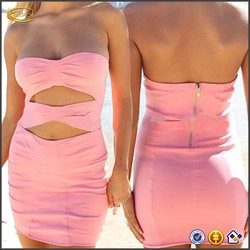 Latest Dress Pattern Hot Girl Club Dress Cut-out Sexy Strapless Pencil Dress