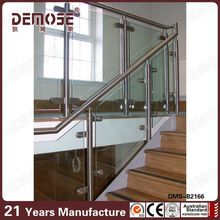 balcony frameless glass railing U channel top railings with handrail