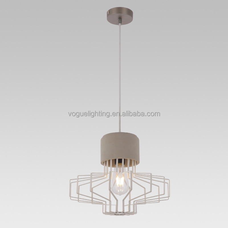 Concrete base Black metal cage textile power cord pendant lamp(SD1515-A)