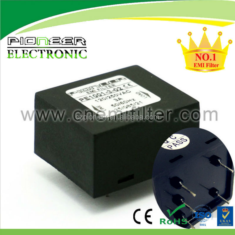 PE1001 PCB Mounting EMI Filter with black plastic housing