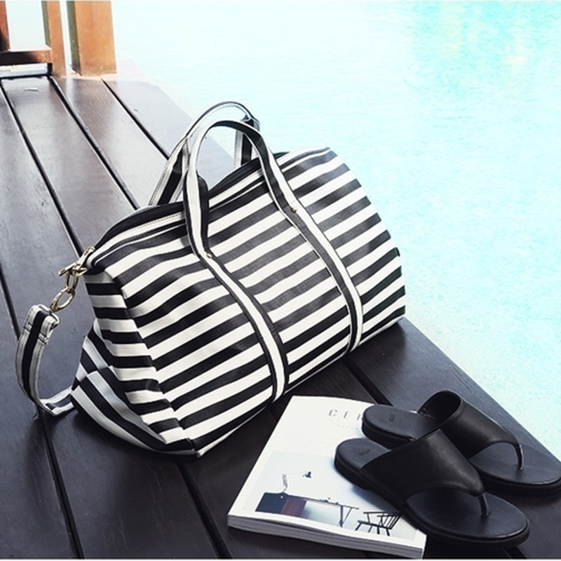 Boarding bags white black stripe Travel Duffel Bag beach bag