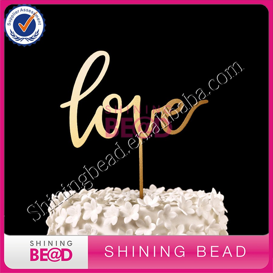Wedding Souvenir Wedding Acrylic Cake Topper LOVE Gold Happy Birthday Acrylic 3D Cake Topper Wholesale