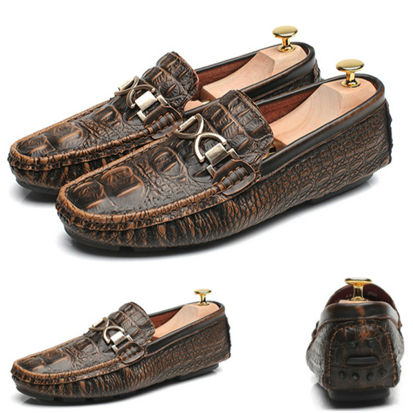 Crocodile grain genuine leather mens leather loafer shoes