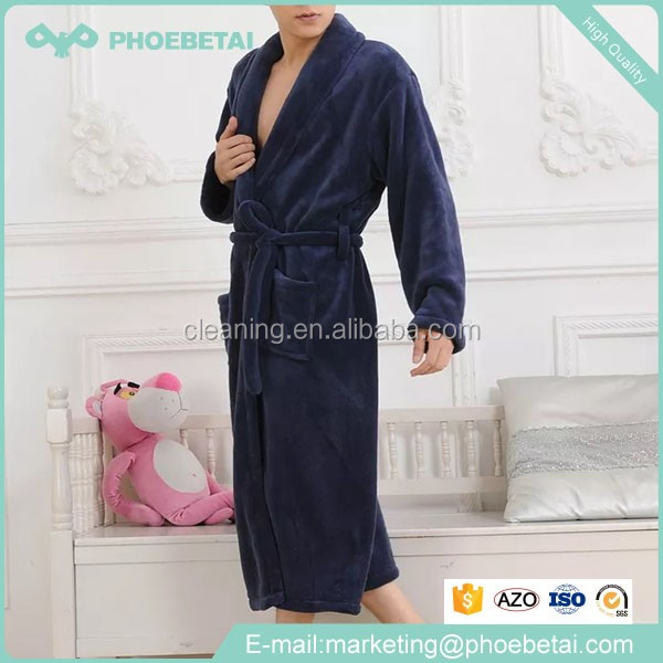 Fashion nightgown for men 100% polyester high quality coral fleece Men Bathrobe solid color