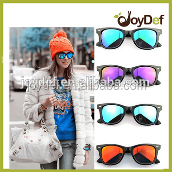 Fashionable Pink Acetate Frame purple yellow revo mirror lens sunglasses with custom logo promotional sunglasses