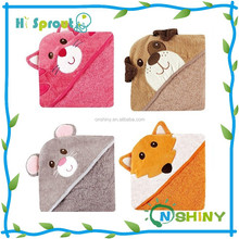 Cotton Plain Color Terry Hooded Baby Bath Towels