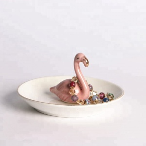 Factory supplies pink swan jewelry tray ring holder, engagement wedding eecoration display holder stand ceramic trinket trays