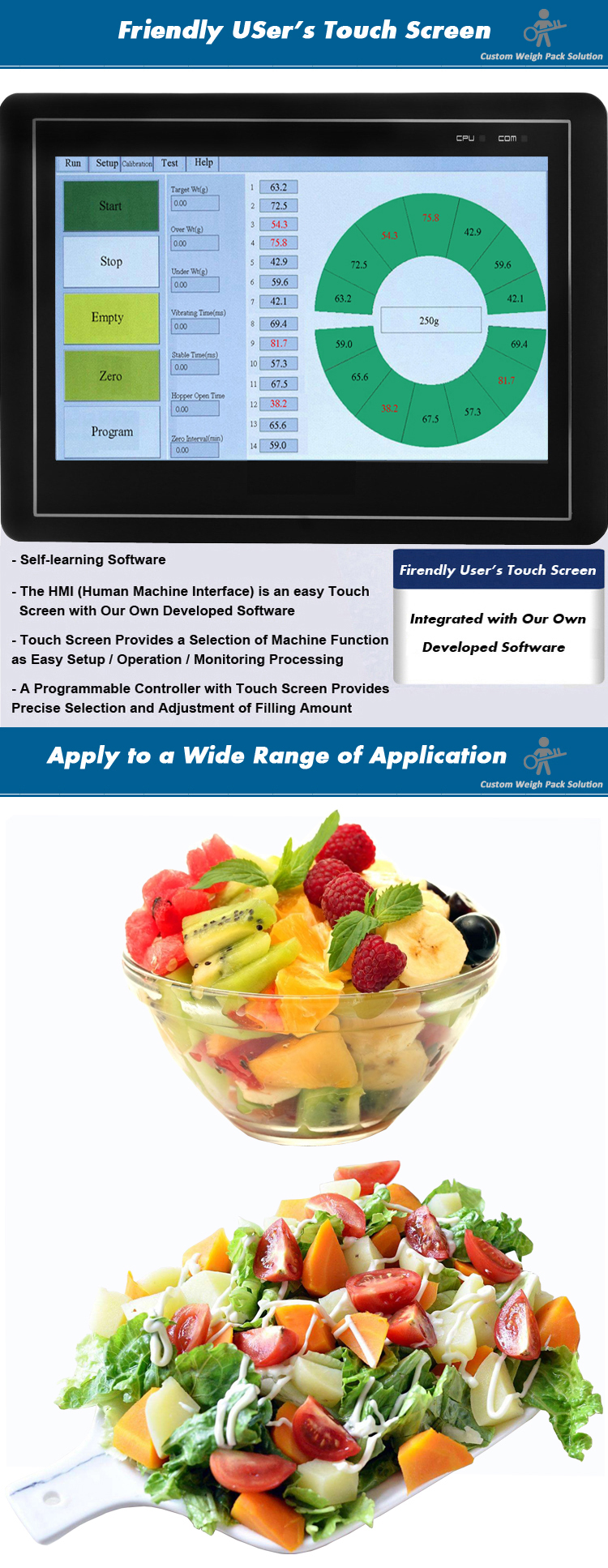 Automatic multihead weigher with 10 combinations packing for vegetable fruit salad