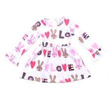 2019 Baby rabbit love print boutique <strong>dress</strong> wholesale <strong>girl's</strong> valentine's day <strong>dresses</strong>