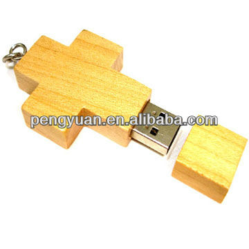 Hot sale christmas gift wood cross usb pendrive with logo