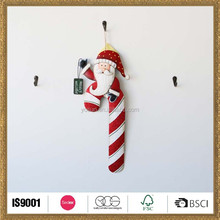 home decoration wall hanging ornament walking stick with santa in 40*9.5*1.5