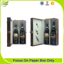 Elegant cardboard leather wine carrier boxes