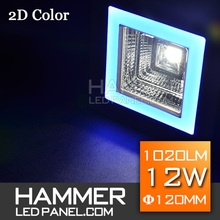 double color 6+6W 12W square LED downlight for decoration