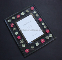 most popular glass photo frame with real flower