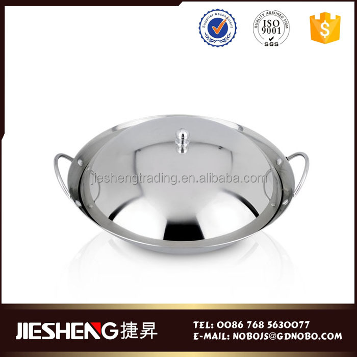 Stainless steel kitchenware large fry pan cookware big wok pan lid